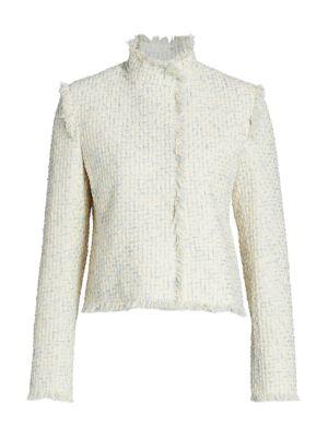 Fringe-Trimmed Cotton Tweed Jacket