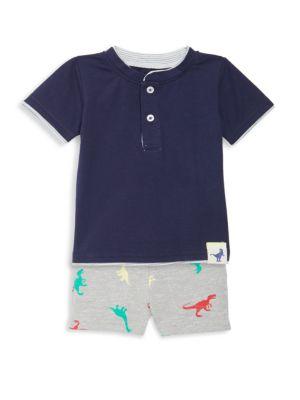 Baby Boy's 2-Piece Henley T-Shirt & Shorts Set