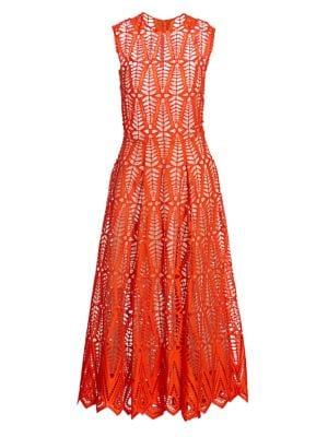 Sleeveless Cotton Lace Midi Dress