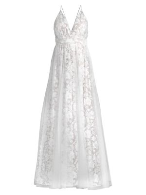 Embroided Floral Mesh Gown