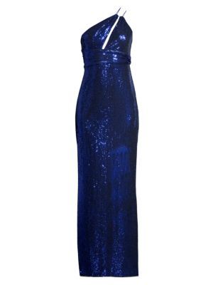 Asymmetric Metallic Knit Gown