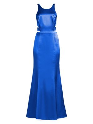 Liquid Satin Cutout Column Gown
