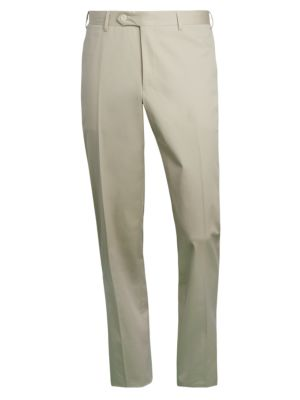 Flat-Front Cotton-Blend Trousers