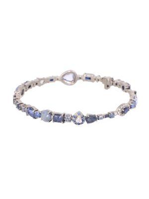 Baby 18K White Gold, Blue Sapphire & Diamond Bangle