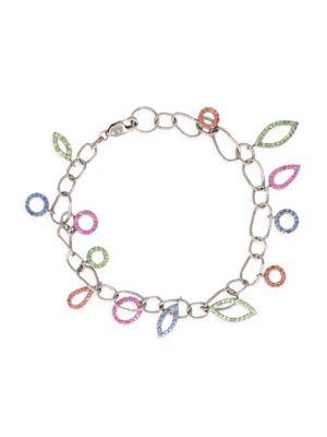 Spassia 18K White Gold, Sapphire & Tsavorite Garnet Charm Bracelet