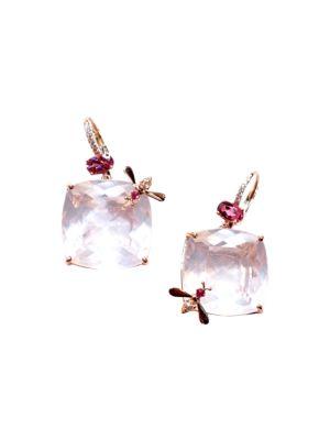 Bee 18K Rose Gold, Rose Quartz & Multi-Stone Drop Earrings