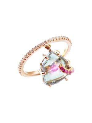 Shimmee 18K Rose Gold, Watermelon Tourmaline, Pink Sapphire & Diamond Charm Ring