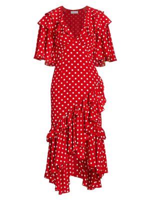 Polka Dot Ruffle Silk Dress