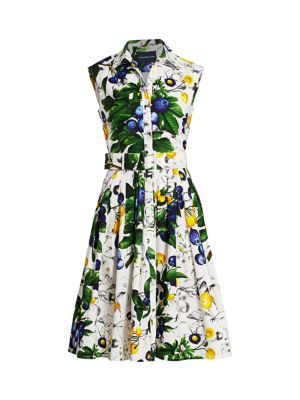 Audrey Floral-Print Belted Cotton Shirtdress