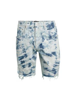 Bleach Marble Denim Cut-Off Shorts
