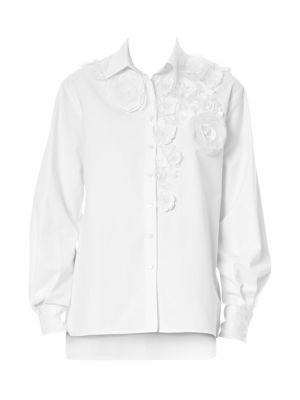 Floral Appliqué Evening Shirt