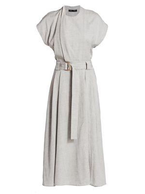 Suiting Short Sleeve Midi Dress