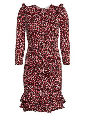 Ruched Leopard-Print Silk Dress