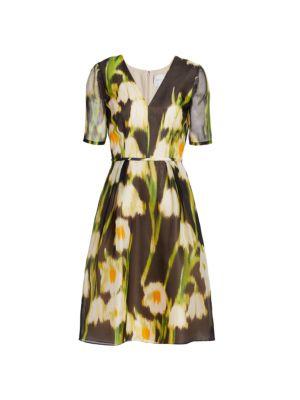 Floral Silk Fit-&-Flare Dress