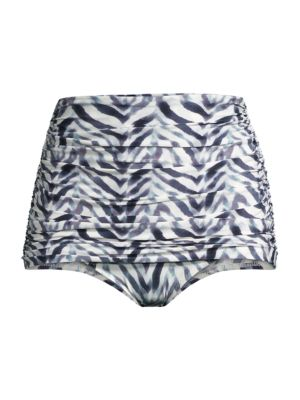 Bill Zebra-Print Ruched Hi-Rise Bikini Bottoms