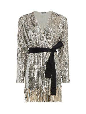 Samantha Sequin Fringe A-Line Wrap Dress
