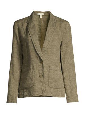 Organic Linen Notch-Collar Shaped Blazer