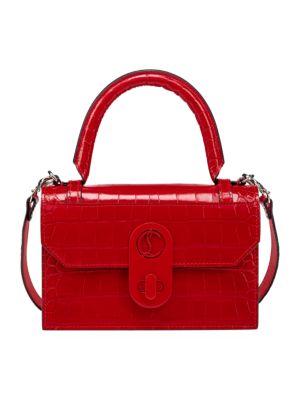 Elisa Croc-Embossed Leather Top Handle Bag