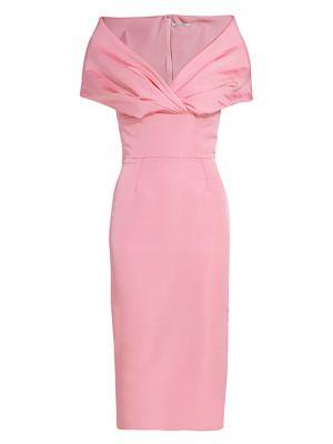 Ava Off-The-Shoulder Silk Cocktail Dress