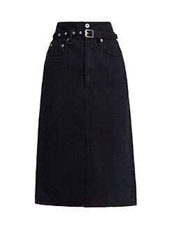 랙앤본 데님 미디 스커트 Rag & Bone Paperbag Waist Denim Midi Skirt,Black Bird