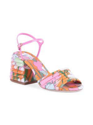 Floral-Print Block-Heel Sandals