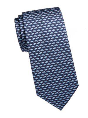 Boar-Print Silk Tie