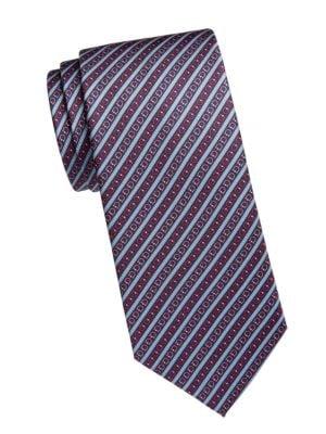 Gancini Stripe Silk Tie