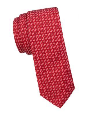 Double Gancini Print Silk Tie