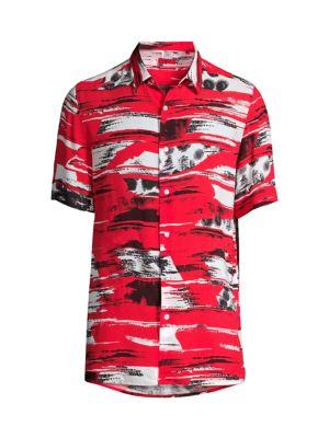 Ebor Printed Short-Sleeve Button-Front Shirt