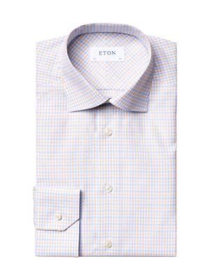 Slim-Fit Check Cotton-Blend Dress Shirt