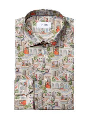Slim-Fit City Scene-Print Cotton Dress Shirt