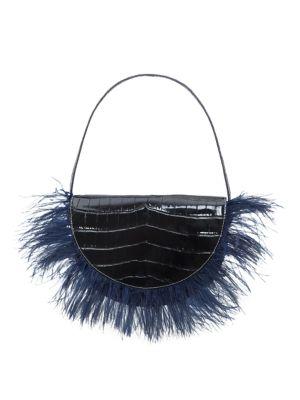 Amal Croc-Embossed Leather Feathered Shoulder Bag