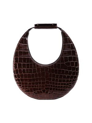 Moon Croc-Embossed Leather Hobo Bag