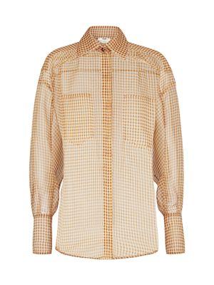 Gingham Silk Organza Shirt