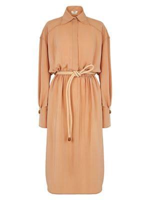 Belted Silk Crepe Shirtdress