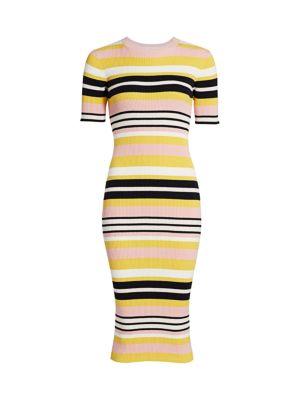 Baja Stripe Cotton & Cashmere Rib-Knit Dress