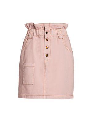 Paperbag Waist Stretch-Cotton Skirt