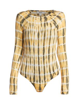 Leila Long-Sleeve Tie-Dye Bodysuit