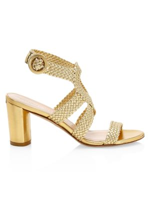 Vicky Woven Metallic Leather Sandals