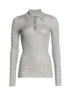 Rib-Knit Silk & Cashmere Collared Top