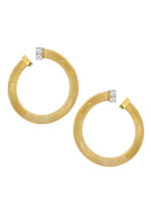 Masai 18K Gold & Diamond Coil Wrap Hoop Earrings