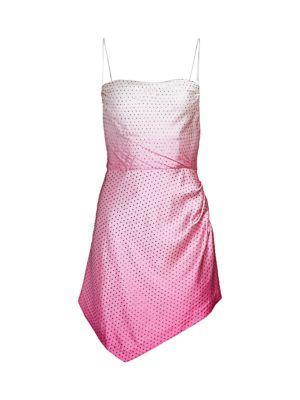 Auris Silk Satin Tie-Dye Asymmetric Mini Dress