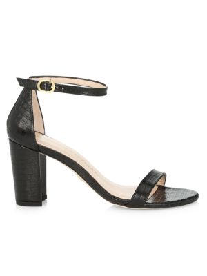 Nearlynude Block-Heel Croc-Embossed Leather Sandals