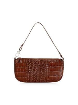 Rachel Croc-Embossed Leather Shoulder Bag