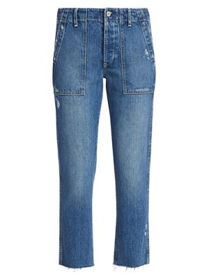 Deja High-Rise Utility Taper Distressed Jeans
