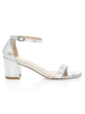 Simple Snakeskin-Embossed Metallic Leather Sandals