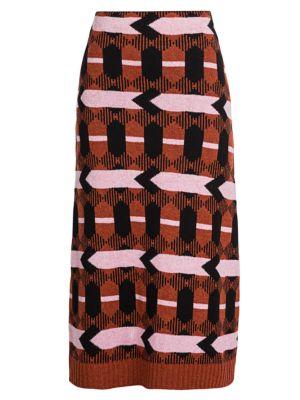 Intarsia Knit Midi Skirt
