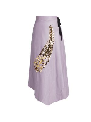 Sequin Feather Leather Midi Skirt