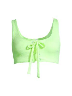 Textured Lace-Up Bikini Top