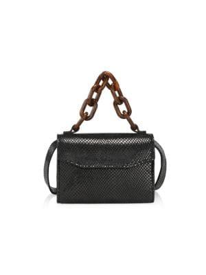 Lizard-Embossed Leather Belt Bag